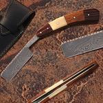 Custom Made Damascus Steel Straight Razor w/ Camel Bone & Wood Handle